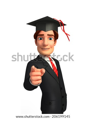 Illustration of Young Business Man with graduate hat
