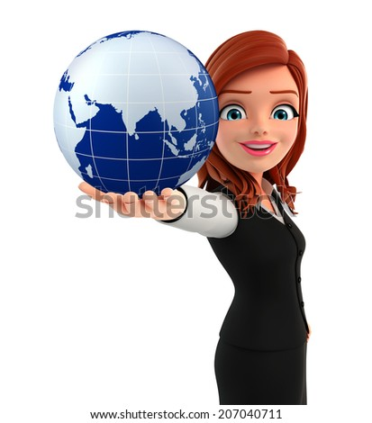 Illustration of young Business Woman with globe