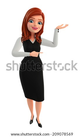 Illustration of young Business Woman with holding pose - stock photo