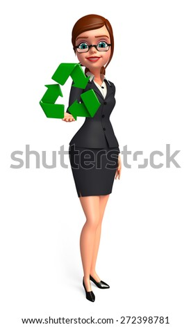 Illustration of Young Business Woman with recycle sign - stock photo