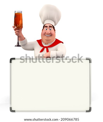 Illustration of young chef with display board