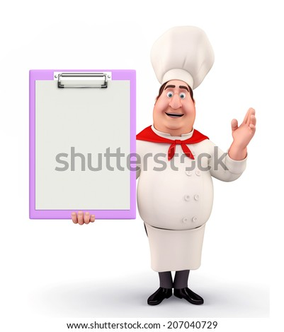 Illustration of young chef with notepad