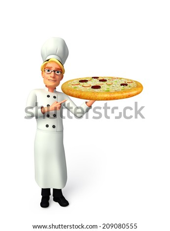 Illustration of young chef with pizza