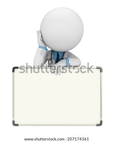 Illustration of young doctor with display board