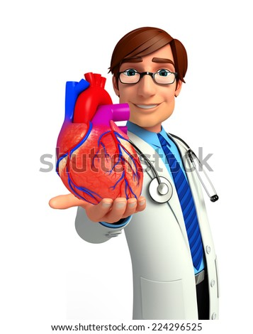 Illustration of young doctor with heart anatomy  - stock photo