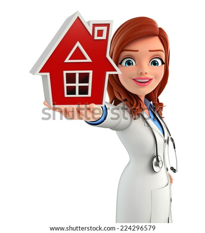 Illustration of Young Doctor with home - stock photo