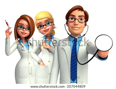 Illustration of young doctors  - stock photo