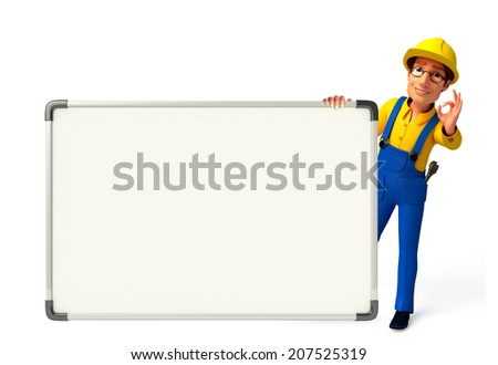 Illustration of young mechanic with display board  - stock photo