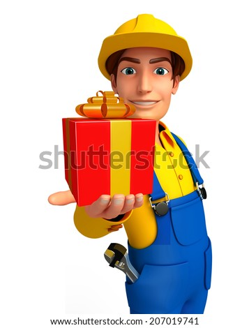 Illustration of young mechanic with gift box