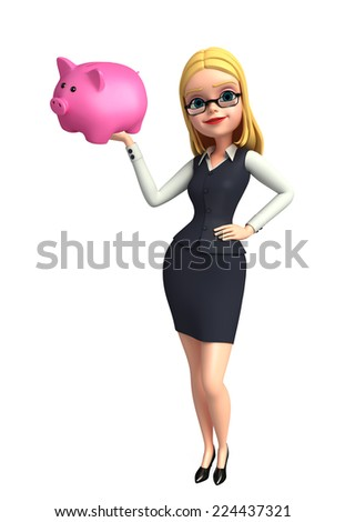 Illustration of young office girl with piggy bank - stock photo