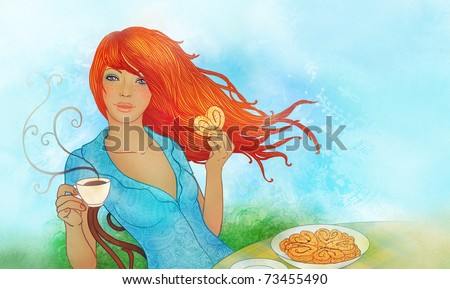 Illustration of young woman eating cookie and drinking tea - stock photo