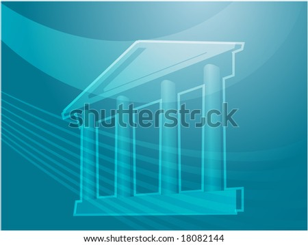 Illustration ofa grand building with pillars showing government finance or other establishments