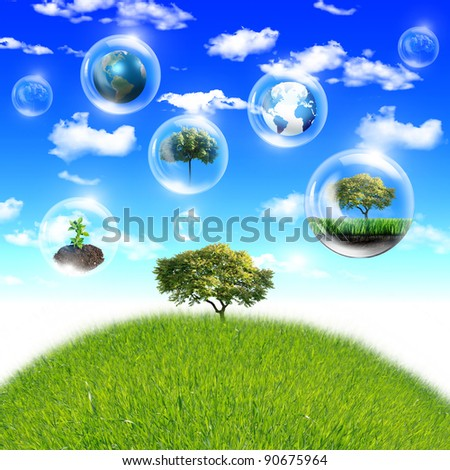 Illustration ofair bubbles with green plant inside as symbol of nature protection - stock photo
