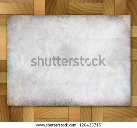 Illustration old grunge paper on wood tiles background.