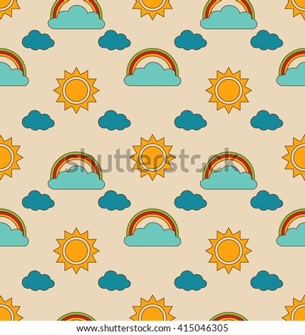 Illustration Old Seamless Pattern with Weather Symbols. Retro Background with Sun, Cloud, Rainbow - raster - stock photo