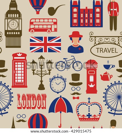 Illustration Old Seamless Texture of Silhouettes Symbols of Great Britain, Big Ben, Queen, Queen's Guard, Crown, Wheel, Bus, Telephone Box, Post Box, Umbrella. Vintage Wallpaper - raster