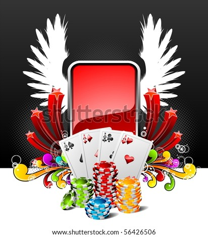 illustration on a casino theme with playing cards and poker chips (JPG VERSION) - stock photo