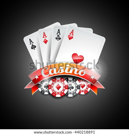Illustration on a casino theme with poker symbols and poker cards on dark background. JPG version.