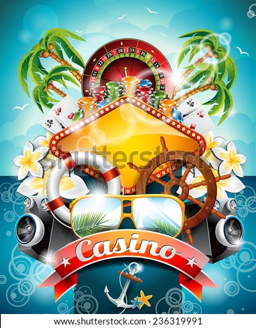 Illustration on a casino theme with roulette wheel and ribbon on tropical background. JPG version. - stock photo