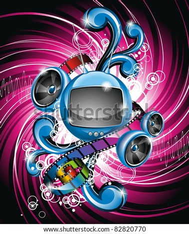 Illustration on a media and movie  theme with futuristic tv on abstract grunge background. (JPG)