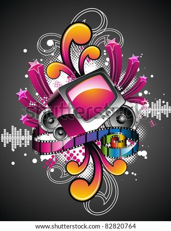 Illustration on a media and movie  theme with retro tv on abstract background design. (JPG) - stock photo