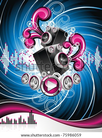 Illustration on a musical theme with speakers on abstract grunge background.