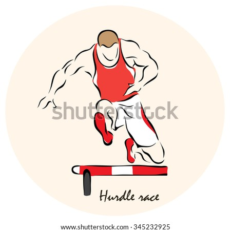 Illustration on the theme of sport. Illustration shows a Summer Sports. Hurdle race? - stock photo