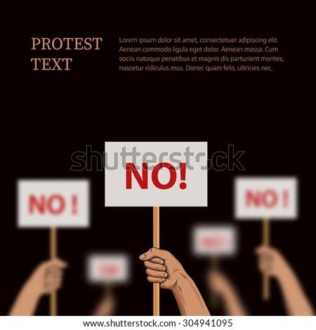 Illustration on the theme protest, disagreement. Rasterized Copy - stock photo