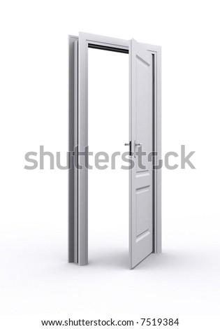 Illustration. Open door, white on white background - stock photo