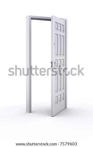 Illustration. Open door: white on white background - stock photo