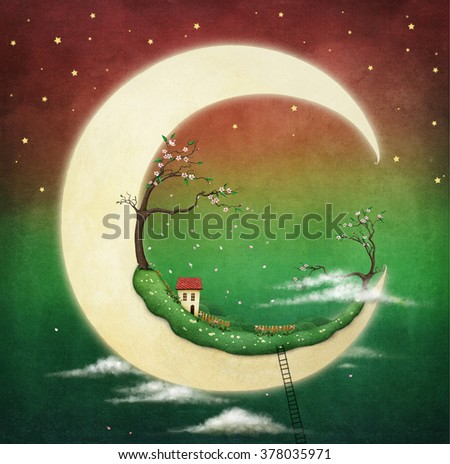 Illustration or card with  fantasy moon and house and cherry tree - stock photo