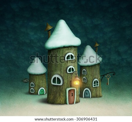 Illustration or card with houses stump winter night - stock photo