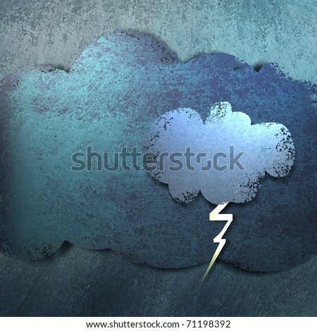 illustration or cute cartoon of weather forecast, rain storm, lightning and thunder bolt, and layered clouds with blue background, grunge texture, and highlights - stock photo