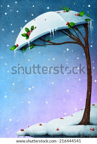 Illustration or greeting card with snowy  trees in the shape of umbrella - stock photo