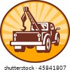 illustration or icon of a Rear view of a tow or wrecker truck - stock vector