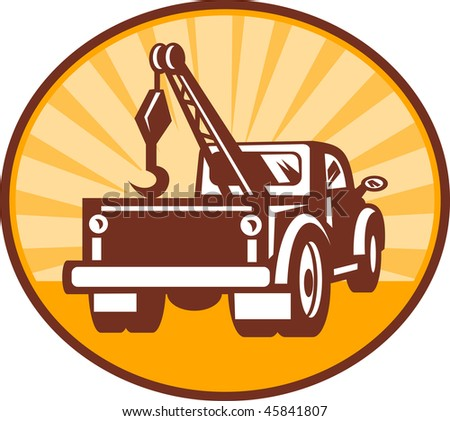 illustration or icon of a Rear view of a tow or wrecker truck - stock photo
