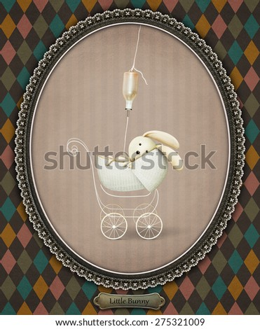Illustration or postcard with rabbit in baby carriage - stock photo