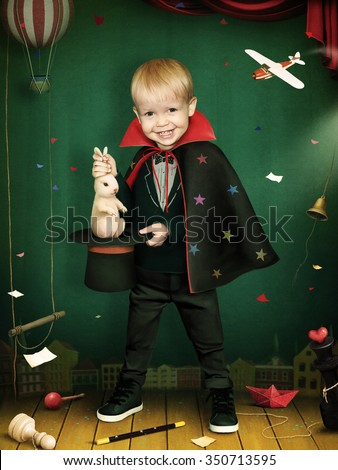 Illustration or poster with performance of boy magician with  hat and  rabbit - stock photo