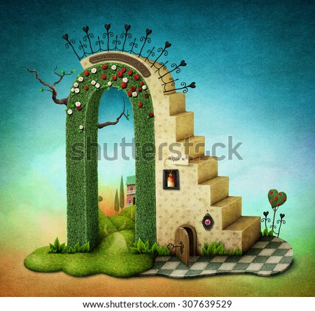 Illustration or poster with  stairs and green arch with fabulous items - stock photo
