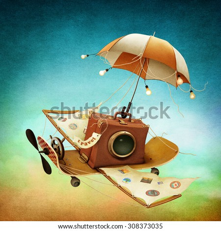 Illustration or poster with  travel bag and flying skateboard - stock photo