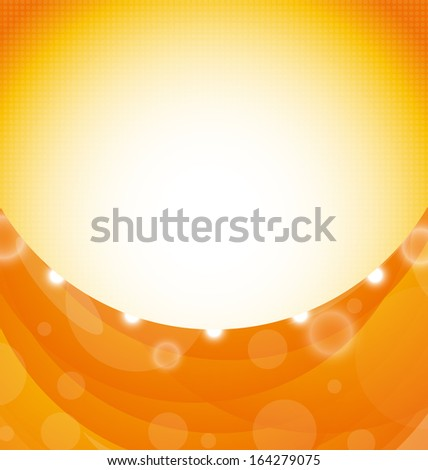 Illustration orange background with shapes swirl and light effects - raster - stock photo