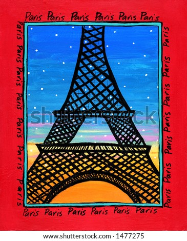 Illustration/Painting of Eiffel Tower Paris - stock photo