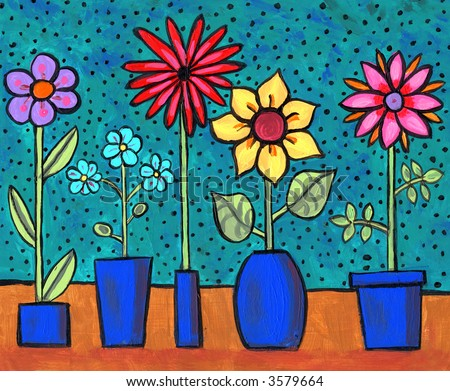 Illustration/ Painting of funky retro flowers in pots - stock photo