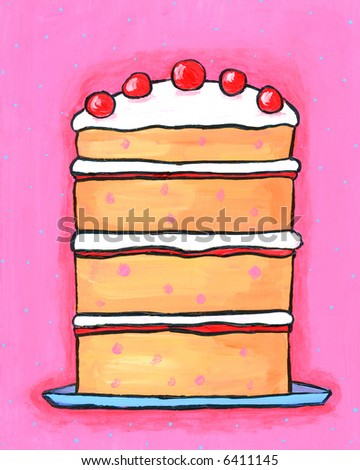 Illustration / painting of pink Cherry Birthday Celebration Cake with Cherries on top. I am the artist and hold the copyright. - stock photo