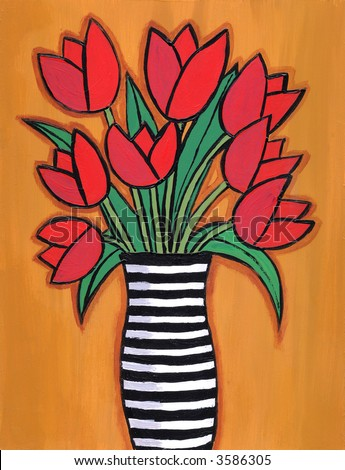 Illustration / painting of red tulip bouquet in striped black and white vase. - stock photo