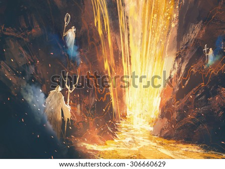 illustration painting of three wizards casting a spell in lava cave - stock photo