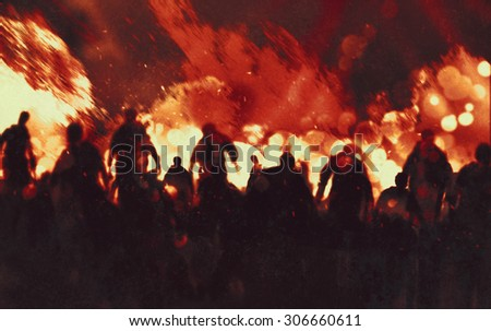 illustration painting of zombies walking through burning fire flames - stock photo