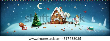Illustration panorama with objects Christmas with gingerbread house and Christmas tree, rabbit and bear adventure - stock photo