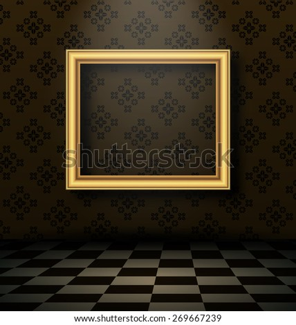 Illustration picture frame in baroque interior style - raster - stock photo