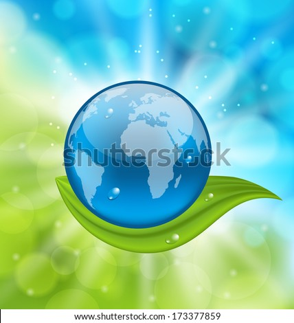 Illustration planet earth with green leaf - raster - stock photo
